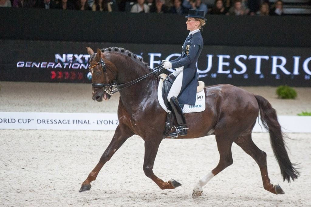 Helen Langehanenberg mit Damon Hill NRW, (GER),<br /> Lyon, Eurexpo, 20.04.14, REEM ACRA FEI WORLD CUP DRESSAGE FINAL - Grand Prix Freestyle