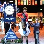 Winning presentation to Pius Schwizer SUI made by Christophe Jeanneret,Longines brand manager Switzerland. Pic Tony Parkes