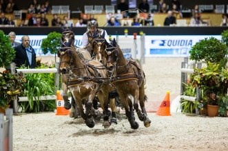 FEI WORLD CUP DRIVING FINAL CAIW Bordeaux 2016. Driving. Winning the first round on Saturday night. Koos DE RONDE (NED). Bonusz, Palero, Joep und Oosterwijk's Kasper
